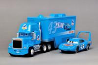Pixar Cars Toys for Children 1set=2pcs Diecast Alloy Mack Hauler Truck + No.43 The King Dinoco Scale Models Kids Classic Toys