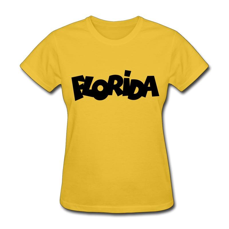 Woman Shirt Slim Fit FLORiDA Design Own O Neck Shirts for Womans(China (Mainland))