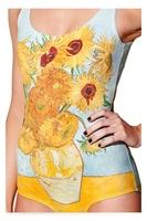 RESUN KNITTED one piece swimming Van Gogh Sunflowers Gold Yellow Swimsuit Galaxy Yellow galaxy beach swimwear women Summer Style