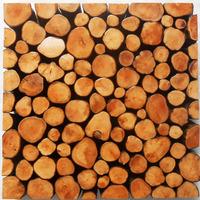 Log wood mosaic wall tiles efflorescent stump pattern tree stool hotel solid wood kitchen tile backsplash 3D mosaic wood tiles