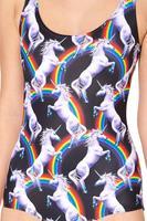 RESUN KNITTED 2014 CLOTH digital print fashion pegasus sexy one-piece swimsuit wholesale price God horse rainbow print