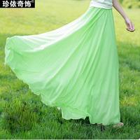 Summer pleated expansion skirt chiffon bust skirt fairy skirt bohemia midguts full dress women's plus size