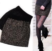 2014 spring women's slim hip leopard print half-length knitted yarn basic skirt a bust