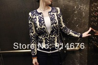 New European Style punk retro national wind porcelain totem pattern knit cardigan zipper jacket Women New Coat ,Free Shipping