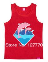 2014 new fashion Pink dolphin men designer hip hop o-neck casual  Vest shirt street style Plus size Sportswear Diamond