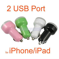 10pcs/lot Mini Bullet Dual USB 2-Port Car Charger Adaptor for iPhone 4 iPod