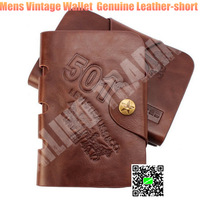 New Fashion Vintage Wallet Mens Genuine Leather Button Money Wallet Pockets Cards Clutch Cente Bifold Purse Brown