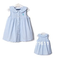 Free shipping full cotton children vertical striped A-line girl dress babydoll English design  pleated cuff  clothing