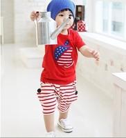 retail 2014 new summer children's clothing Big Apple leisure suit suit Korean short-sleeved boys set cotton kids set 1set/lot