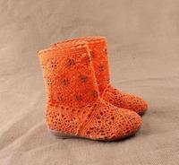 Children's knitted net boots cutout boots medium-leg boots  free shipping