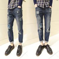 Xj small roll fashion les t jeans fashion men slim denim trousers skinny jeans  free shipping