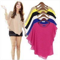 2014 summer female sexy chiffon shirt ,fashion batwing sleeve ruffle women chiffon T-shirt,plus size S -- XXXL chiffon colthes