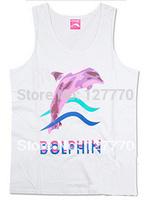 Free shipping Men's fashion Vest 2014 pink dolphin high quality hip hop fashion New style 100% cotton Vest Diamond