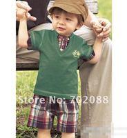 Retail new 2014 boy clothing set Casual boys clothes sets short sleeve t shirt + shorts fashion
