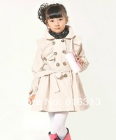 2014 new spring autumn children's clothing girls coat children girls fashion double-breasted trench coat free shipping