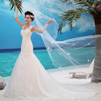 2014 wedding formal dress bride tube top train lace fish tail plus size bandage