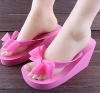 Women's Sandals 2014 Summer Beach slipsole flange Wedges bowtie flip flops sweet high heel Toe clip slippers shoes