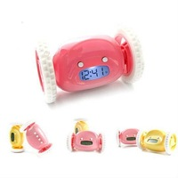 2014 NEW  Funny Moveable Wheeled Robot Moving Runs Alarm Clock Digital Liquid Display FREE SHIPPING