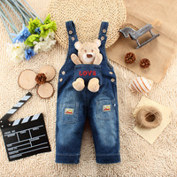 Korean New Love Bear pattern Jeans Overall can open files pants Baby Coveralls Rompers For 1-3 Years old Baby