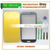 5 Pcs/Lot Grey Outer Glass/Front Glass Lens FOR Samsung Galaxy S3 SIII i9300 Digitizer/LCD Touch Screen +Adhesive+Free Tools