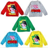 2/3/4/5 Hot sale 2014 new long sleeve peppa pig blue/gray/yellow/red/green cartoon kids t shirt children clothing,D166