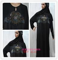 Free Shipping Ram419 Muslim Abaya/Jilbab With  Diamond And Hijab , Islamic Arabia Dubai long Dress For Women,Lady