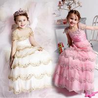 Flower wedding dress formal dress double-shoulder beading children's clothing female flowers customize princess dress costume