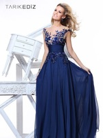 2014 New Fashion Embroider See Through V-neck Blue Chiffon Long Evening Dress vestidos de fiesta Prom Gown Party Zuhair Murad