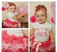 wholesale--2014 new 2014 baby shortsleeve birthday t shirt+ tutu skirts girl summer clothing set 5set/1lot