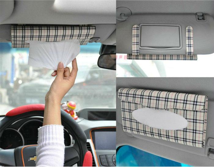 Car Sun visor Tissue box Auto Accessories Holder Paper Napkin Clip Buff-Lattice(China (Mainland))