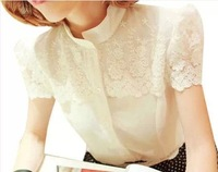 2014 summer fashion slim sweet lace crochet chiffon shirt short-sleeve shirt female chiffon shirt free shipping