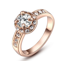 Wedding Classic Ring For Women 18K Rose Gold Plate Round Shape Zircon Stone Ring SWA Element Ring Free Shipping #9-2010235280