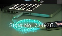 Visible Flowing Current USB Cable,Visible Flowing Light USB Data Charger Cable For iphone 4 4S Pad 2 3 100pcs Free shipping