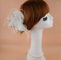 Wedding Hair Accessories Bridal Feather Flower White Head Pieces Hair Combs