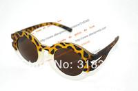 Wild round frame sunglasses retro fashion trend leopard transparent frame sunglasses for men and women