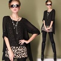 2014 spring fashion plus size clothing high quality sexy leopard print chiffon shirt size s-4xl
