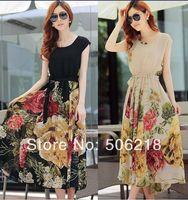 2014 Summer Fashion Floral BOHO Ball Gown Chiffon Summer Beach Short Sleeve long Dress