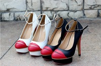2014 spring new Sweet and playful Singles shoes sexy hot lips round PU ankle strap waterproof  Spell color high-heeled shoes