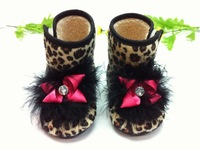 Leopard baby girl shoes boots pink fur flowr free shipping winter first walkers plush stone deco