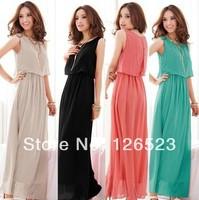 4Colors, 2014 New Hot Sale Women High Quality Pleated Bohemia beach Maxi Long Chiffon Dress S-XXXL