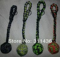 Monkey's Fist 1'' Steel Ball Self Defense 6'' Keychain with Carabiner- Black
