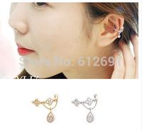 Fashion crystal ear cuffs charms drop note no pierced ear clip earrings pierced ear cuff adjustable earrings 2014 NEW  LM-C275