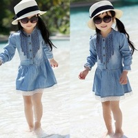 Retail+Free shipping new 2014 children spring summer clothing,100% Cotton lace dresses,knee length princess casual girl dress