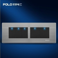Free Shipping,POLO luxury wall switch panel,197MM*72MM, LED panel, Light switch, Flat switch,110~250V,5 Gang 2 Way