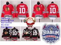 2014 Stadium Series Chicago Blackhawks Ice Hockey Jerseys #10 Patrick Sharp Black Red Jersey Free shipping New Arrival !!!