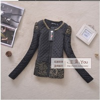 2014 Winter New Women vintage coat Spring tops gold buckle epaulette lace flower short wadded jacket cotton-padded