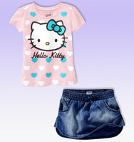 Kids apparel girl clothing sets short sleeve heart kitty T-shirts + mini denim skirt twinsets for 2-7Y free shipping wholeszale