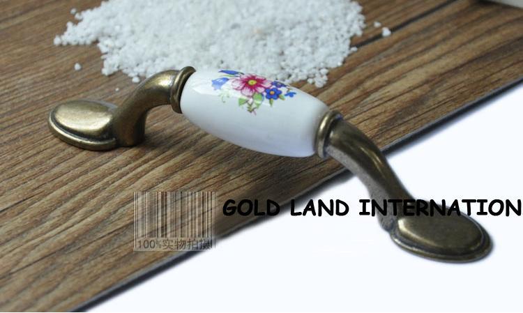 76mm Free shipping zinc alloy+ceramic Drawer Pull Furniture Handle Furniture Hardware Cabinet Handle(China (Mainland))