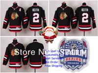 2014 Stadium Series Chicago Blackhawks Ice Hockey Jerseys #2 Duncan Keith Black Red Jersey Free shipping New Arrival !!!