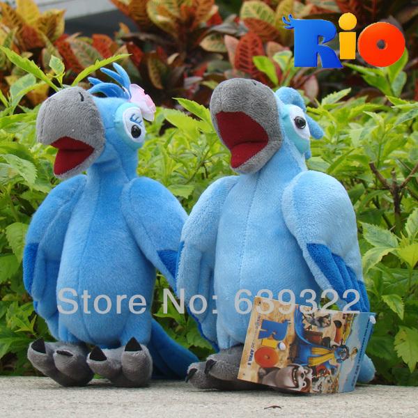 Rio Parrot 2pcs 8.5inch Cute Plush Blue & Jewel Toy Stuffed Animal Blue Parrot Bird Soft Doll Retail(China (Mainland))